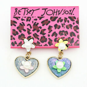 Women-039-s-Fashion-Peal-Flower-Love-Heart-Ear-Stud-Betsey-Johnson-Dangle-Earrings