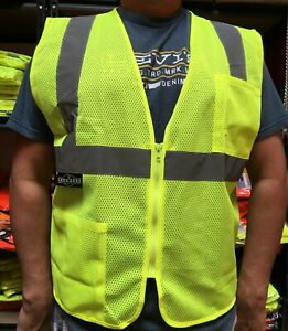 2 Pockets  Mesh High Visibility Safety Vest, ANSI/ ISEA 107-2015-(SV2ZGM)