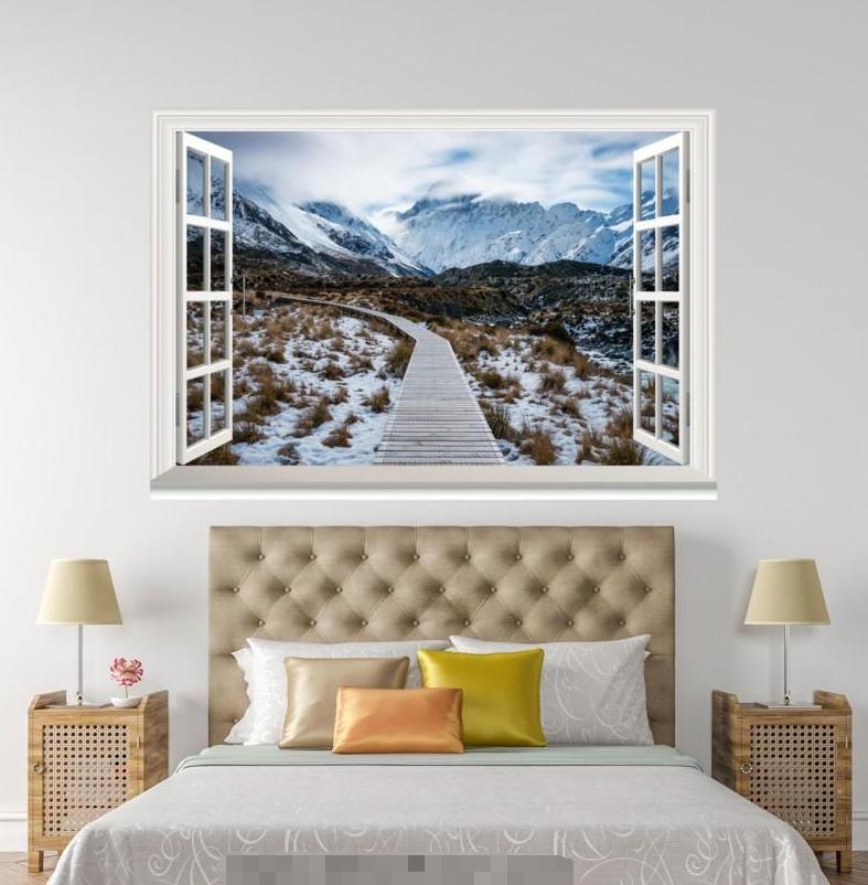 3D Weiß Snow Street 1028 Open Windows WallPaper Murals Wall Print AJ Carly