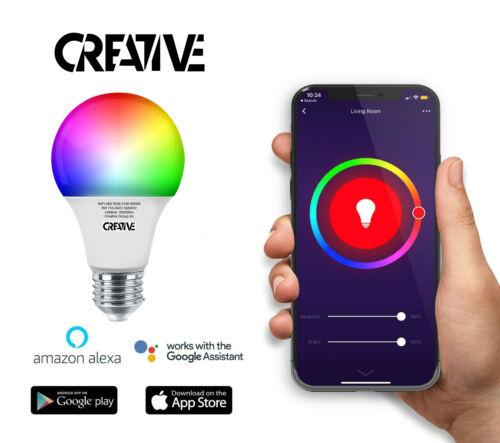 E27 Smart Colour Light Bulb 10W RGB LED WiFi App Control with Alexa and Google