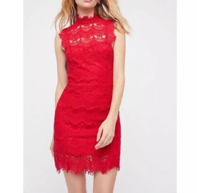 Free People Women's Daydream Bodycon Lace Night Out Mini Dress L Cherry Red NWT