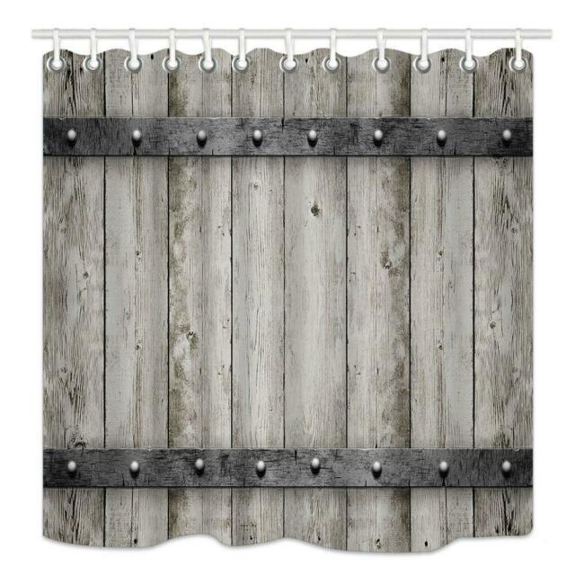 Shower Curtain Hooks Wooden Barn Door Farmhouse Rustic Western Bathroom Decor