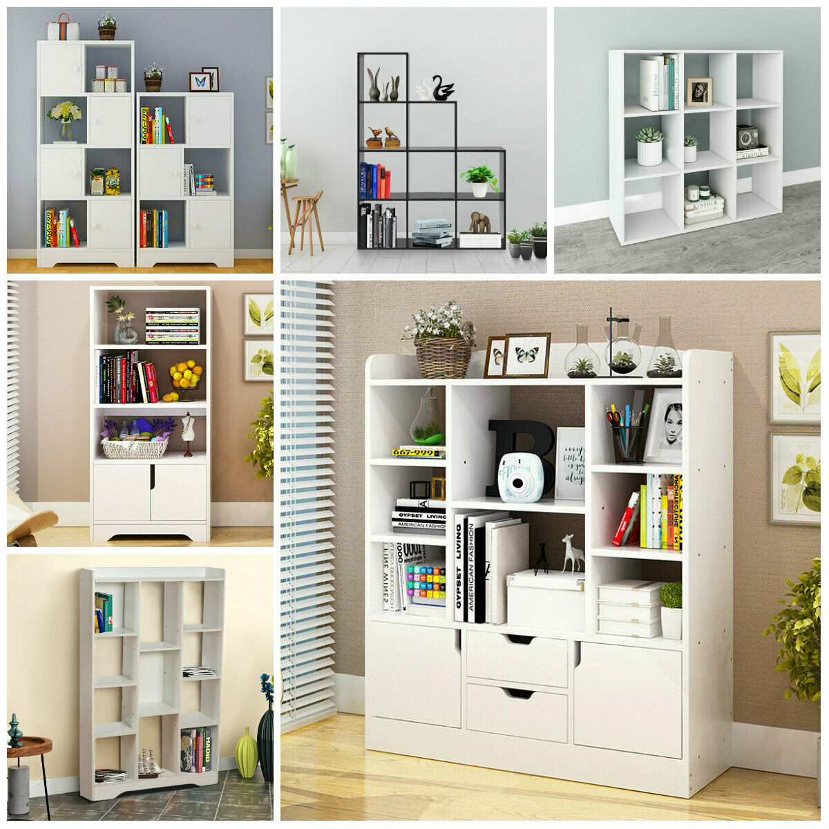 Wooden Bookcase Tall Book Shelves Display Unit Free Standing 3 4 Tier Storage Uk