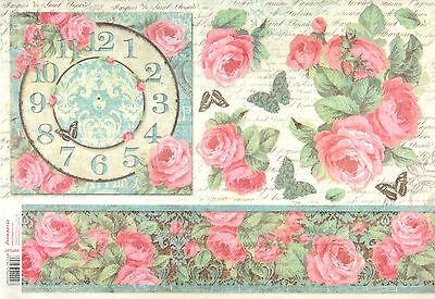 Rice Paper for Decoupage Scrapbooking Sheet Craft Paper Versailles Clock