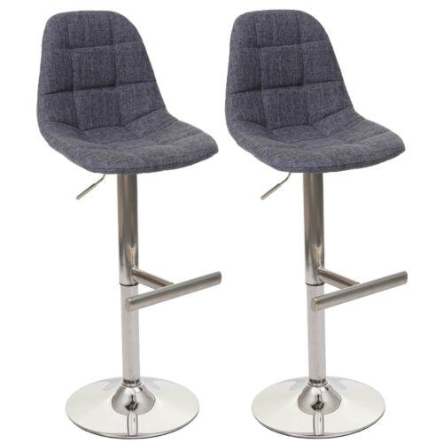grau Textil Fuß gebürstet 2x Barhocker HWC-A67 Tresenhocker Barstuhl