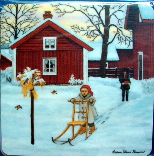 4 Gläseruntersetzer Holzfurnier Erkers Marie Persson Winter Motive Schweden