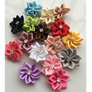 10-40-80pcs-DIYSatin-Ribbon-Flowers-Bows-w-Rhinestone-Appliques-Craft-Wedding