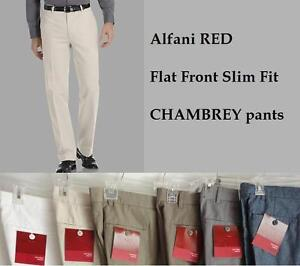 Alfani-RED-mens-Flat-Front-SLIM-Fit-cotton-CHAMBREY-pants-trousers-sizes-NEW