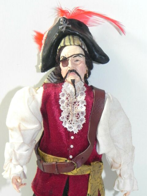 Dollhouse Miniature Doll Pirate with Parrot Falcon Minis 1:12