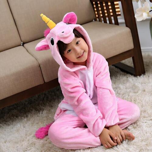 Kids rainbow Unicorn Kigurumi Animal Cosplay Costume Onesie205Pajamas Sleepwear!