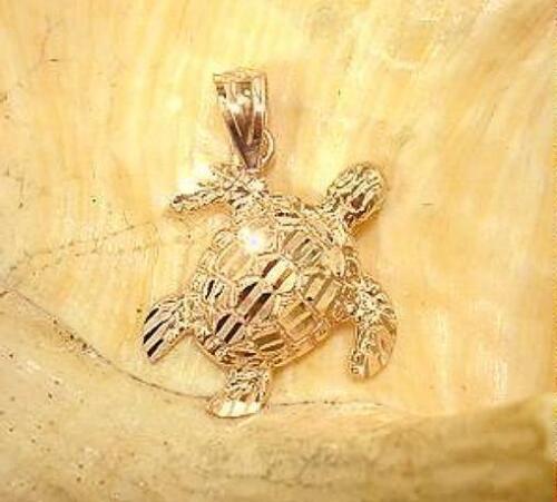 16MM SOLID 14K ROSE GOLD SPARKLY DIAMOND CUT DC HAWAIIAN HONU TURTLE PENDANT SML