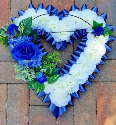 "Artificial Silk Funerals Flower Wreath closed Heart Floral Tribute Memorial 22/"""