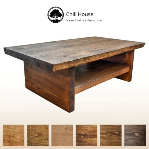 Waney Rustic Natural Oak Solid Wood Chunky Live Edge Coffee Table with Shelf