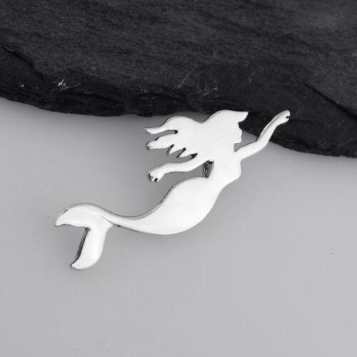 Swimming Mermaid Pendant Silhouette Fantasy Tail Swim 925 Sterling Silver