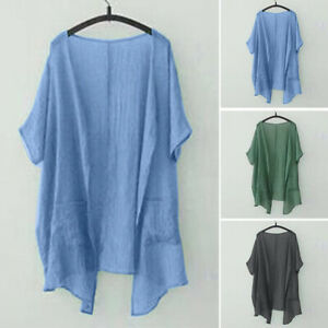 Royaume-Uni-nouvelle-robe-d-039-ete-a-manches-courtes-Ouvert-Avant-Tops-T-Shirt-Chemisier-Cardigans
