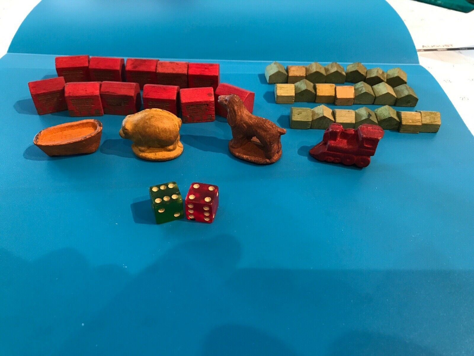 MONOPOLY WWII GAME PIECES  Hotels  Houses Dice. Extremely RARE.