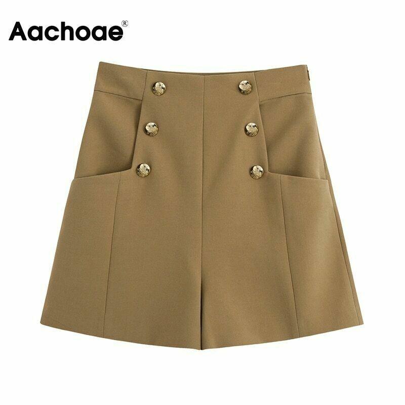 Aachoae Sommer Elegante Braune Farbe Shorts Frauen Knopf Retro Shorts Weiblich