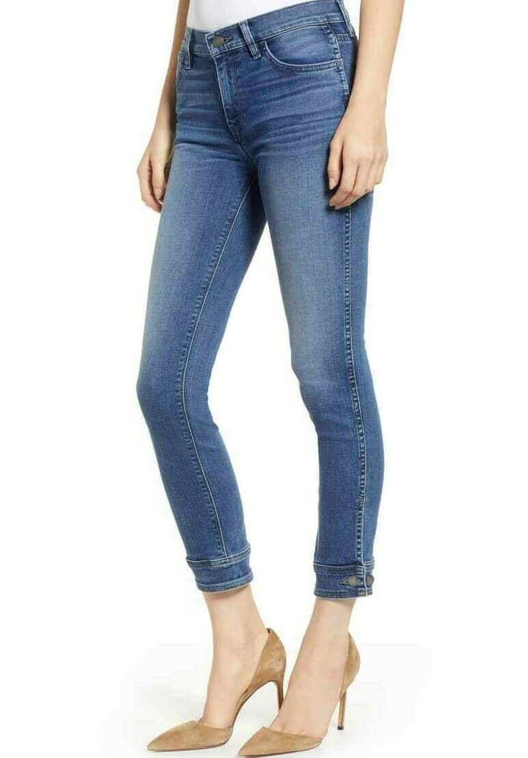 215 NWT HUDSON Sz27 NICO BUTTON CUFF CROP CIGARETTE STRETCH JEANS RADIATE WASH