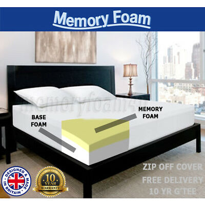 "5"" MEMORY FOAM MATTRESS SINGLE DOUBLE KING 4FT6 5FT BED SIZE MATRESS + ZIP COVER"