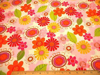 Premium Cotton fabric 100/% cotton retro paisley floral red orange pink