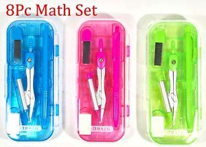 8-pc-Math-Tool-Set-Geometry-School-Compass-Ruler-Triangle-Protractor-Eraser-C056