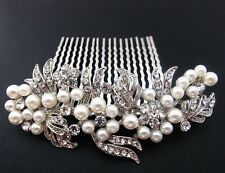 Bridal Wedding Jewelry Crystal Rhinestone Beautiful Flower Design Hair Comb 896