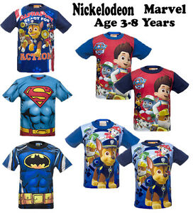 Boys Kids Superman Batman Paw Patrol T-Shirt Short Sleeves Tops Age 3- 8 Years
