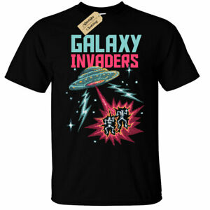 GALAXY-invasori-T-shirt-Da-Uomo-Retro-Space-anni-039-80-anni-039-90-gamer-geek-ARCADE-pixel-UFO