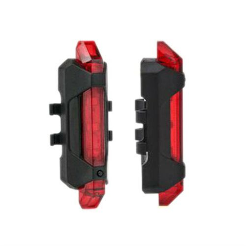 LED Bike Lights USB Rechargeable 4 Mode 5 Bicycle Cycling Front Rear Tail Lamps@