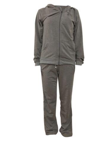 Women/'s casual sportswear tracksuit Top /& Bottom 2Pcs Set Gray L