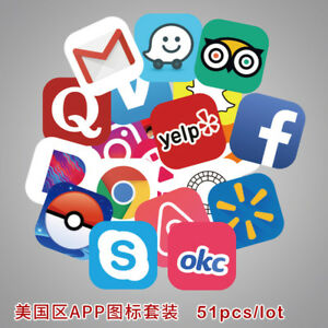 51pcs-Luggage-Stickers-APP-Stickers-Car-Laptop-Bike-Phone-Helmet-Decals-Gift-New