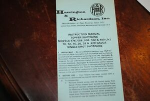 H&R Model Topper 176, 058, 098, 162, 490 JR Owners Manual Factory |