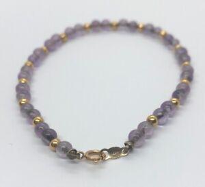 14k-Gold-Estate-Vintage-Bracelet-7-Amethyst-Bead-3-3-Grams