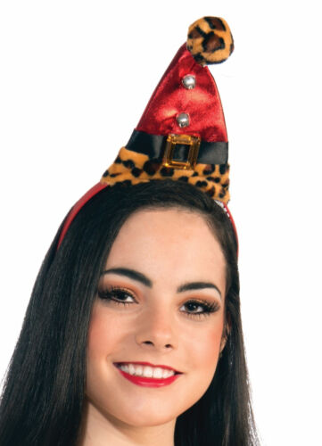 Christmas Leopard Santa Hat on Headband Holiday Costume Accessory  Fun Fur New