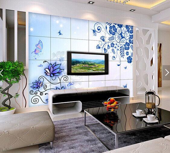 3D Bule Flowers 610 Wallpaper Murals Wall Print Wallpaper Mural AJ WALL AU Kyra
