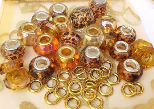 35 AB Amber Gold Hues Glass Leopard Decco Rondelle /& GP Alloy spacer*large hole*