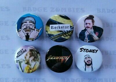 6 x 25mm POST MALONE PIN BADGES BUTTONS ROCKSTAR WOW STONEY