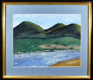 Original Irish Art Donegal Mountains Watercolour Painting c1990s