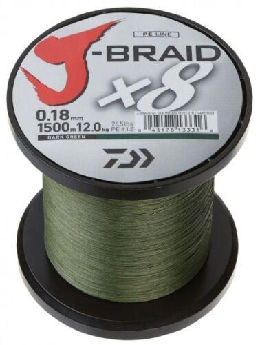 Braid X8 fach geflochten Schnur dunkelgrün 0,13mm  8,0kg Daiwa J 0,09€//1m