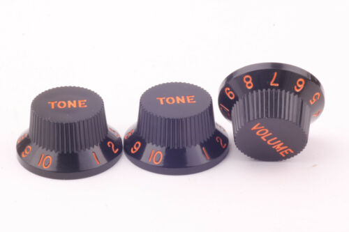 style Black//Orange lettern /& numbers passend für Strat®US//CTS Potis Knob Set 3