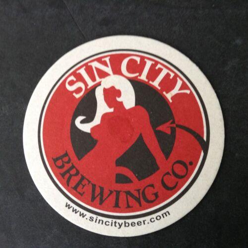 Vintage Beer Coaster//Mat SIN CITY Brewing Company