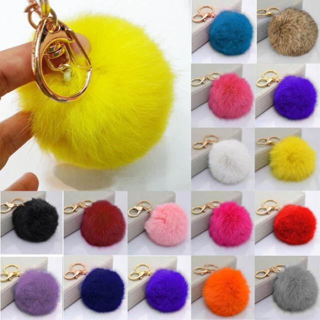 Fashion Genuine Rabbit Fur Ball PomPom Car Keychain Handbag Charm Key Ring
