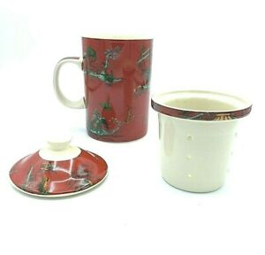 World Market Ceramic Tea Cup with Lid and Loose Tea Infuser Red Asian Print