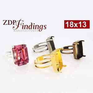c99c1d44dd1f8e 4Pcs x 18x13mm Octagon SP Adjustable Ring Bezel fit Swarovski 4610 ...