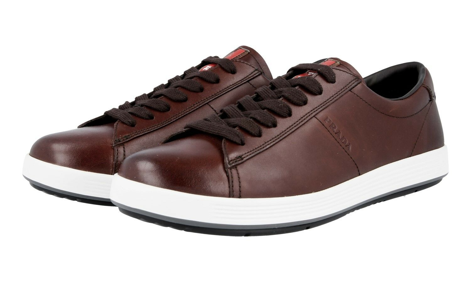 LUXUS PRADA SNEAKER SCHUHE 4E2860 brown NEU NEW 7 41 41,5
