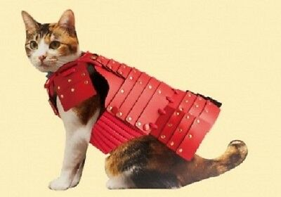 Cat Dog Clothes Pet Armor SAMURAI Puppy Kitty Vest Handmade in Japan Red Gold