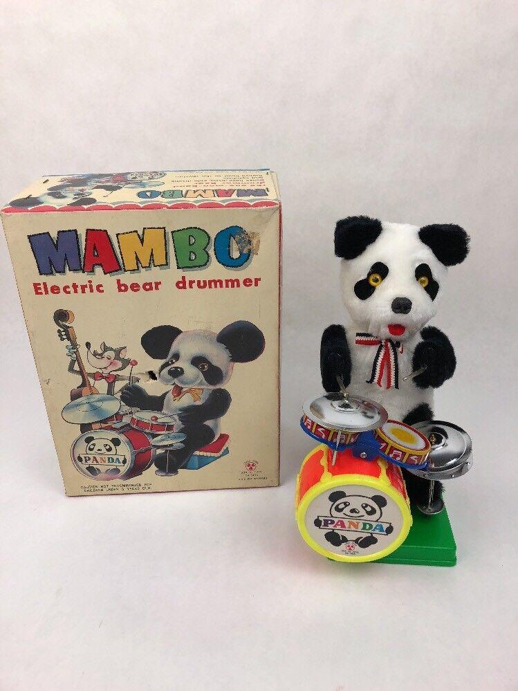 VINTAGE TIN BATTERY OPERATED MAMBO PANDA BEAR DRUMMER ORIGINAL BOX Fast Ship