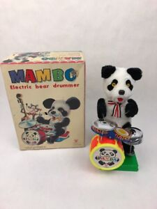 VINTAGE-TIN-BATTERY-OPERATED-MAMBO-PANDA-BEAR-DRUMMER-ORIGINAL-BOX-Fast-Ship