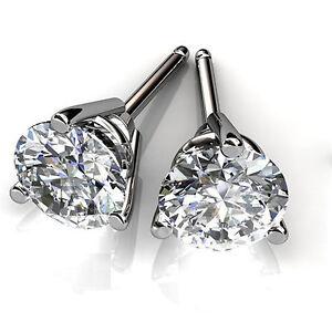 2-00-Karat-Ohrringe-Solid-14K-Weiss-Gold-Ohrstecker-Rund-Diamant-Ohrstecker