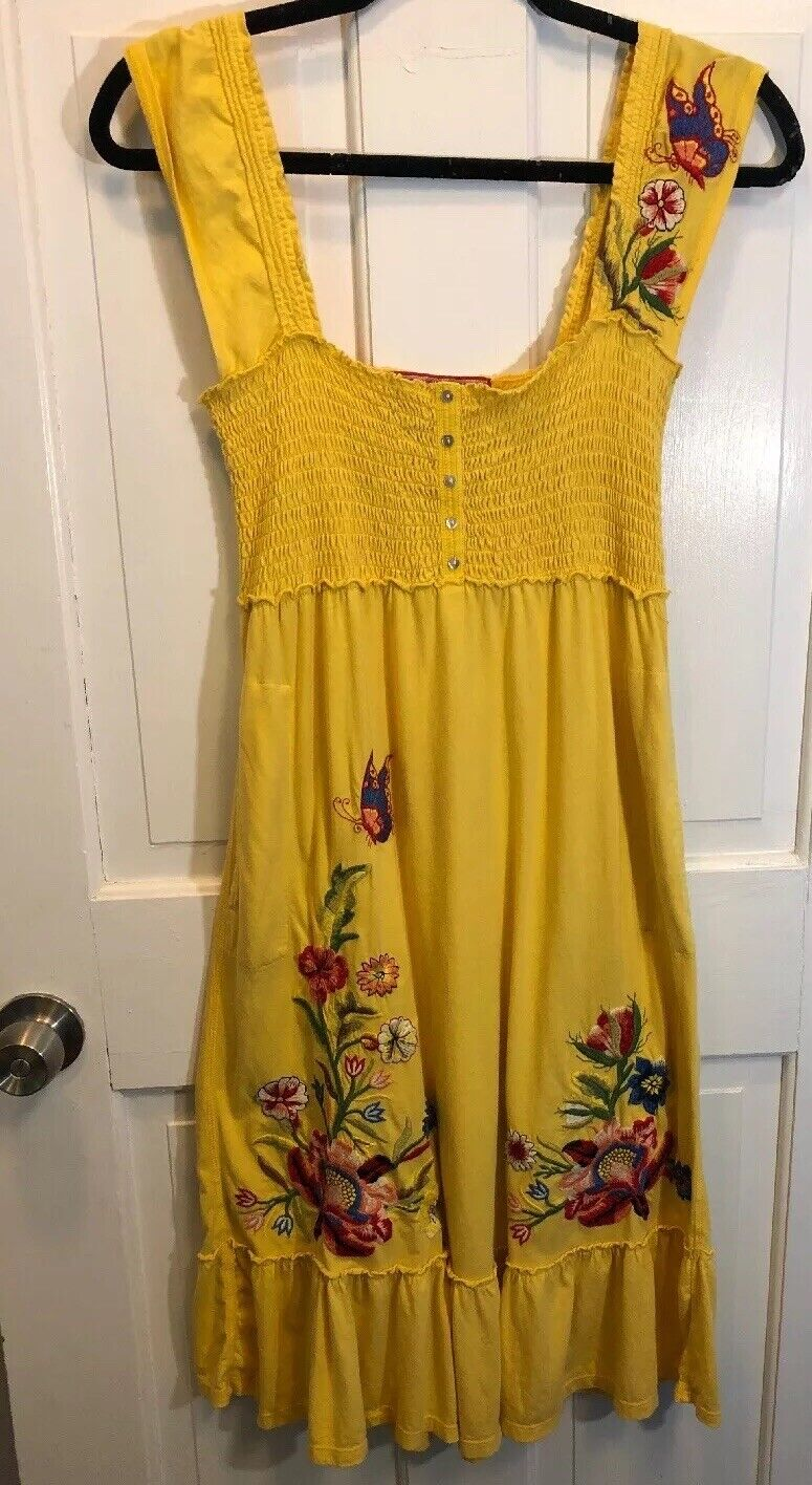 32. Euc Johnny Was Biya Yelliw Floral Embroiderot Dress S